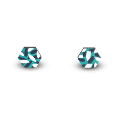 Tropics hexagon earrings in aqua, navy and white