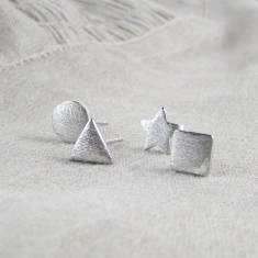 Geometric sterling silver stud earrings