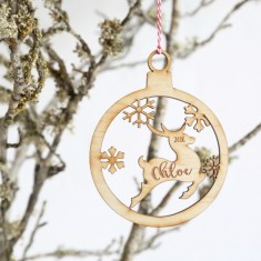 Personalised Wooden Reindeer Christmas tree decoration