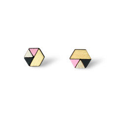 Hexagon geometric earrings - baby pink, pearl white, charcoal