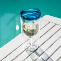 TraVino spillproof wine sippy cup in blue