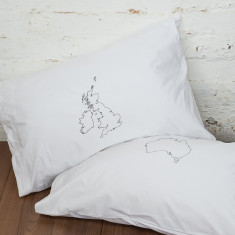 Personalised pair of map pillowcases (choose your locations)