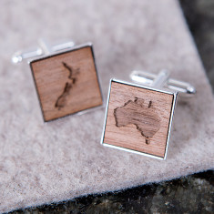 Personalised wooden map cufflinks