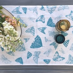 Blue Moths linen table runner