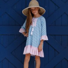 Dixie dress in Blue fan print