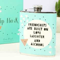 Turquoise Geometric Friendships Hip Flask