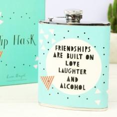 Turquoise Geometric Friendships Hip Flask