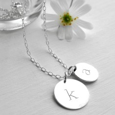 Personalised Sterling Silver Double Initial Disc Pendant Necklace