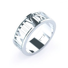 Personalised Roman numeral wedding ring