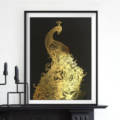 Gold leaf peacock print