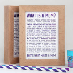 Mum poem postcard in solid beech frame