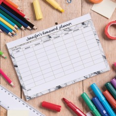 Personalised Homework Planner - Black and white marble