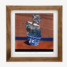 Framed Fiona Roderick 'Three Blue Bowls' print
