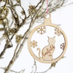 Personalised Cat Wood Christmas tree decoration