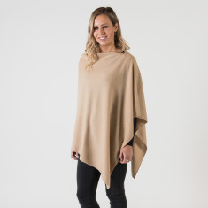 Cashmere poncho in camel