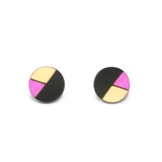 Circle geometric earrings in black and purple