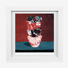 Framed Fiona Roderick 'Three Red Bowls' print