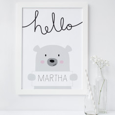 Personalised Hello Bear Print for Kids