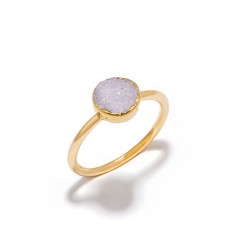 Mini Drusy Light Grey Circle Stacking Ring