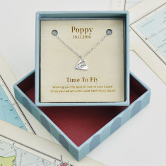 Personalised 'Time To Fly' Silver Necklace