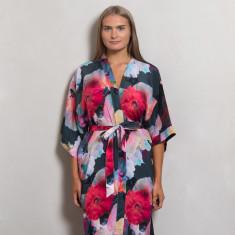 Dark Poppy Silk Dressing Gown