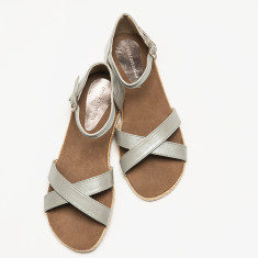 Espadrille women's sandal in silver leather