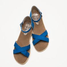 Espadrille women's sandal in dazzling blue linen