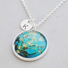Personalised Vincent Van Gogh almond blossom necklace in silver