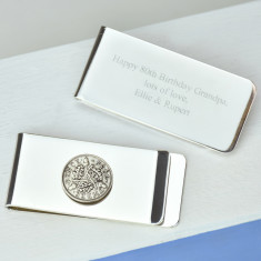 Threepence 80th birthday coin money clip
