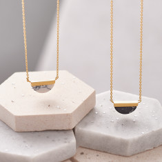 Half Circle Marble Stone Necklace