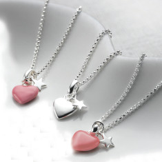 Children's Sterling Silver Heart & Star Necklace (Pink or Silver)