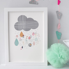 Personalised Rain Cloud Nursery Print