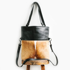 Wasteland leather bag in black/springbok