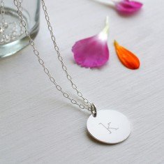 Personalised Sterling Silver Initial Disc Pendant Necklace