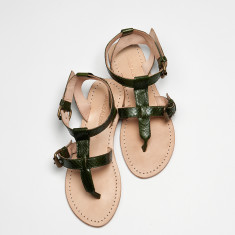 Lipari sandals in dark green snakeskin