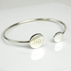 Personalised Double Disc Initial Bangle Bracelet