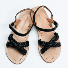 Santorini Sandal Black Leather