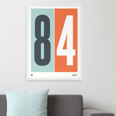 Personalised numbers print in orange