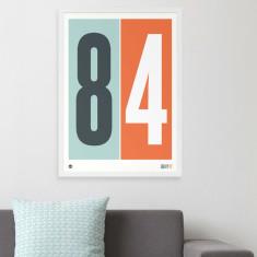 Personalised numbers print in orange