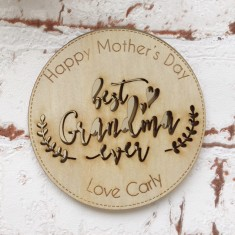 Personalised Mother's Day wooden drink coasters - best grandparent ever (set of 2)