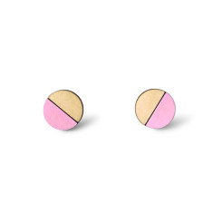 Circle half moon earrings in baby pink
