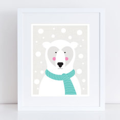 Polar bear in a snow storm art print