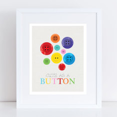 Cute as a button art print