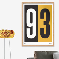 Personalised numbers print in mustard