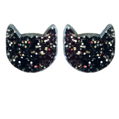 Black glitter cat earrings