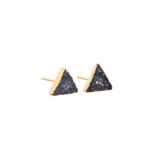 Mini Drusy Dark Grey Triangle Stud Earrings