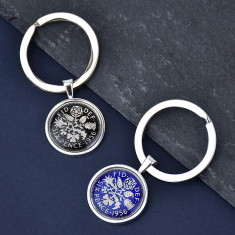 Sixpence Sterling Silver Enamel Keyring