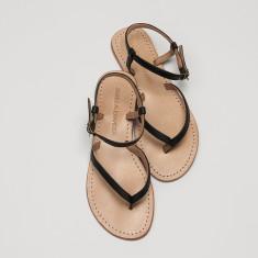 Siena black leather sandals