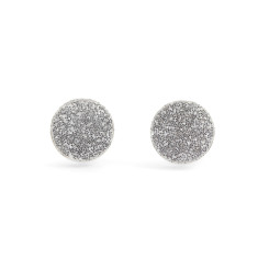 GEO - Circle earring studs in silver glitter