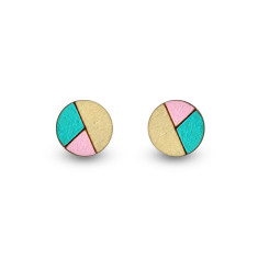 Circle geometric earrings in aqua and pink